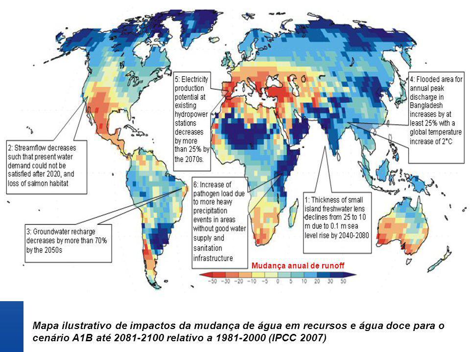 cenário A1B até 2081-2100 relativo a 1981-2000 (IPCC 2007)