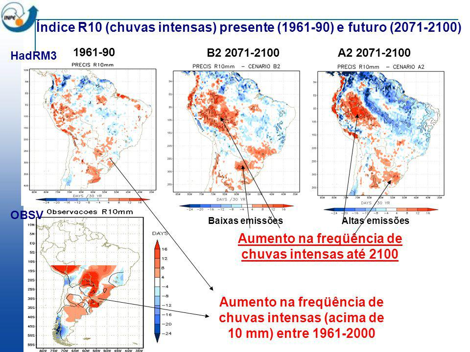 Aumento na freqüência de chuvas intensas até 2100