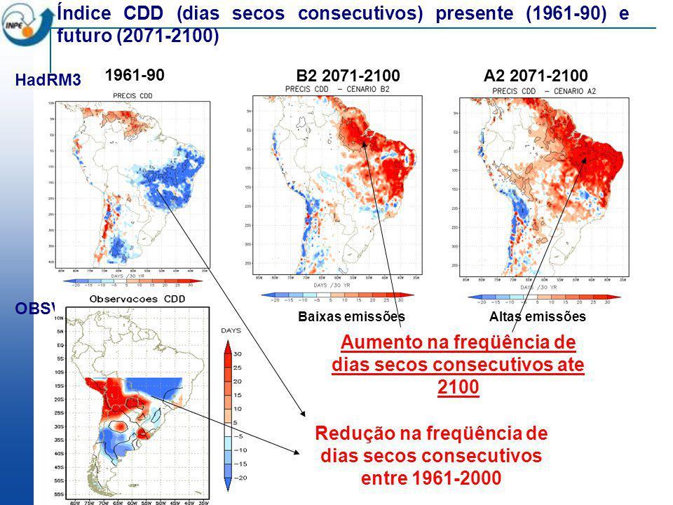 Aumento na freqüência de dias secos consecutivos ate 2100
