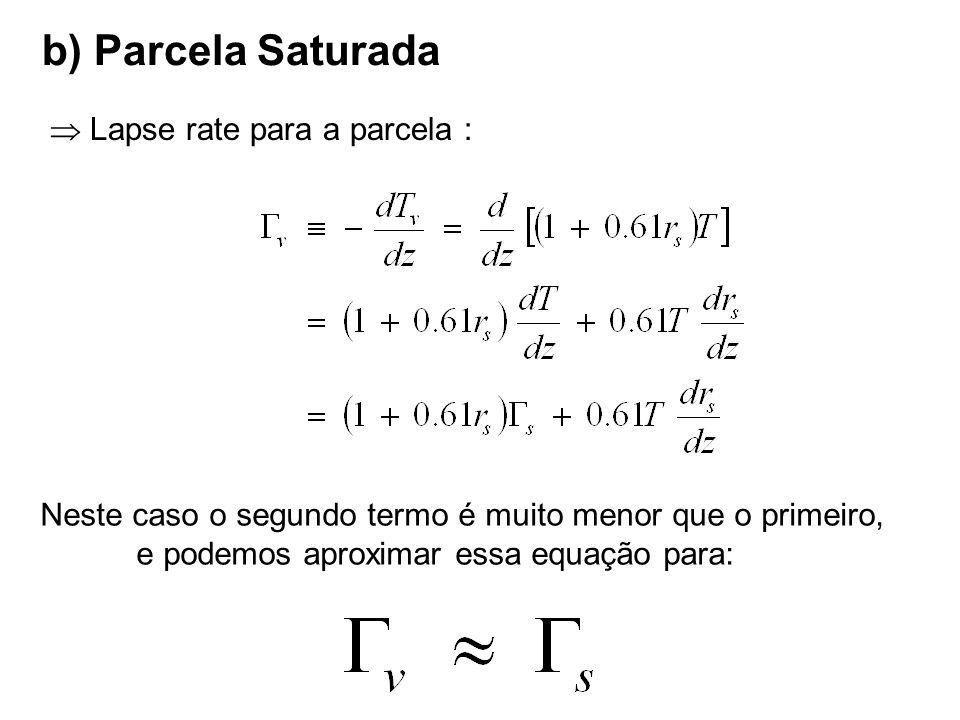 b) Parcela Saturada  Lapse rate para a parcela :