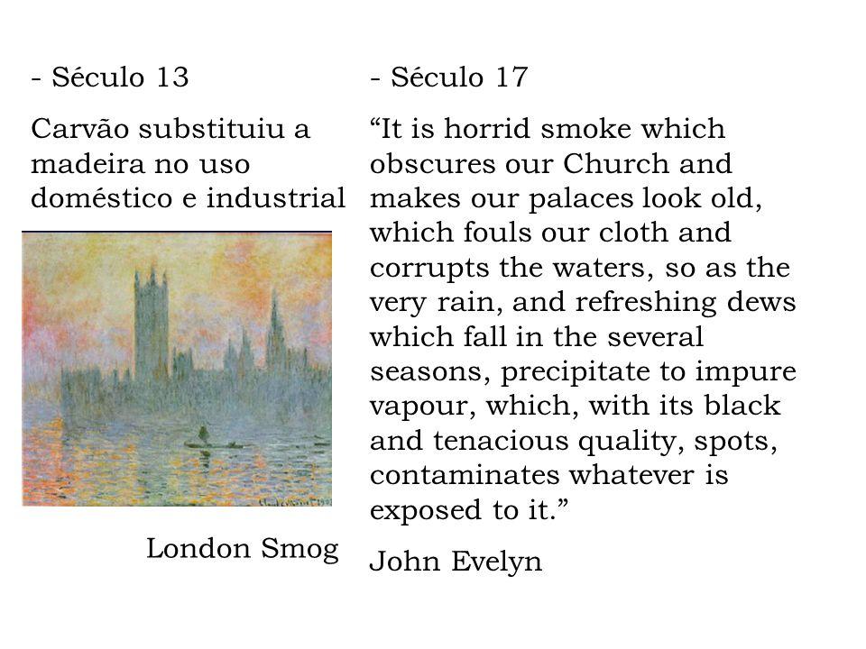 - Século 13 Carvão substituiu a madeira no uso doméstico e industrial. - Século 17.