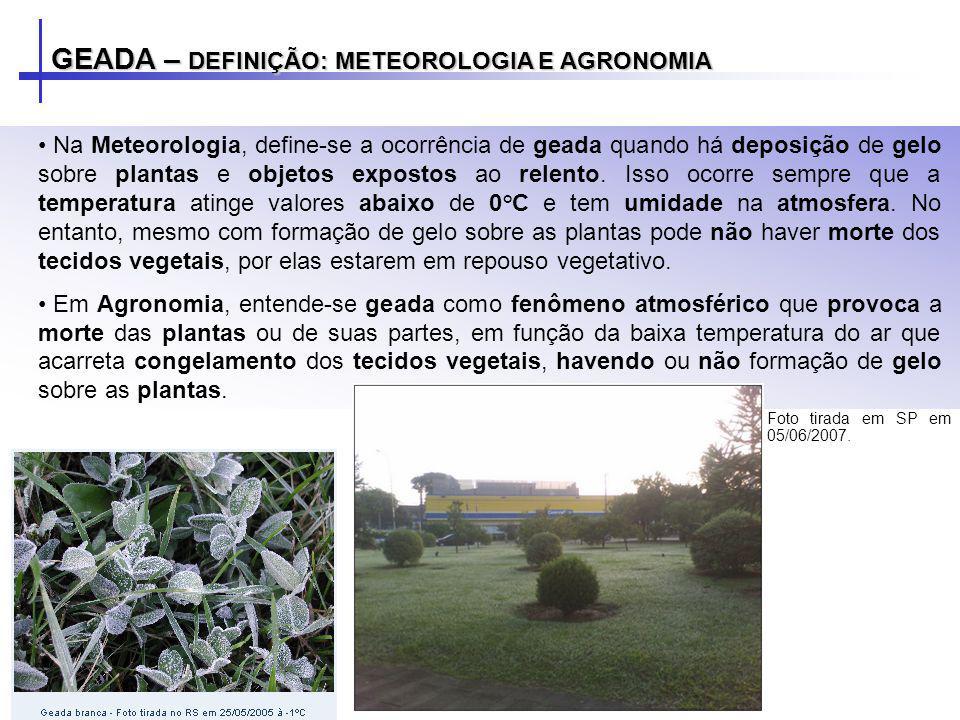 GEADA – DEFINIÇÃO: METEOROLOGIA E AGRONOMIA