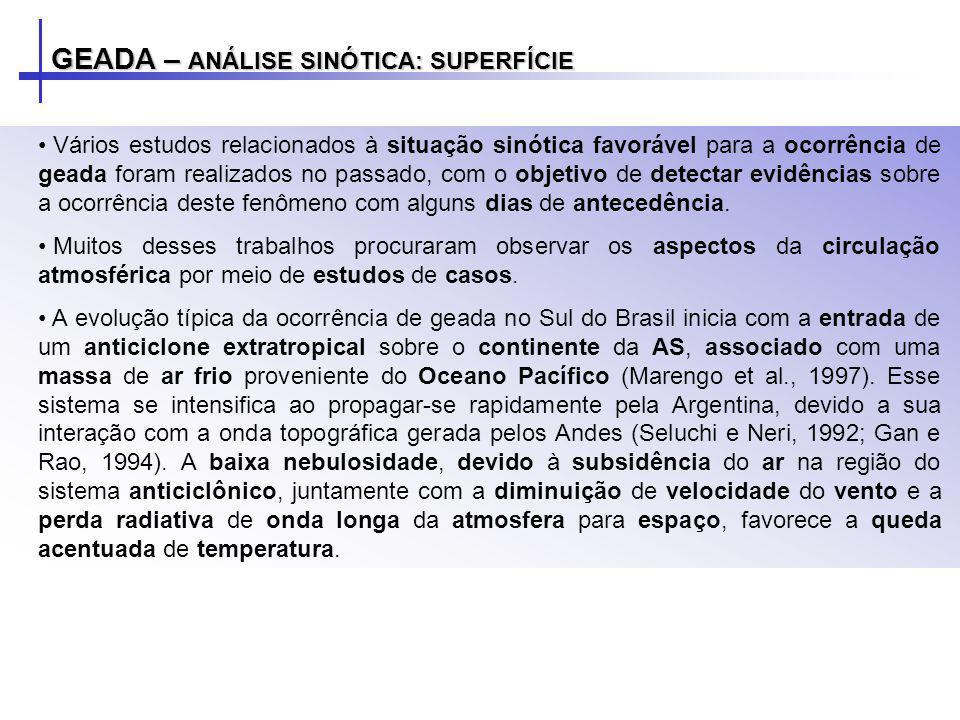 GEADA – ANÁLISE SINÓTICA: SUPERFÍCIE