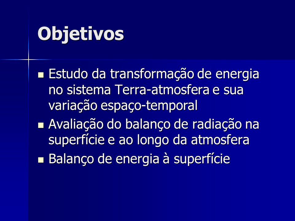 Objetivos Estudo da transformação de energia no sistema Terra-atmosfera e sua variação espaço-temporal.