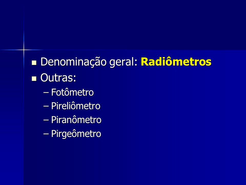 Denominação geral: Radiômetros Outras: