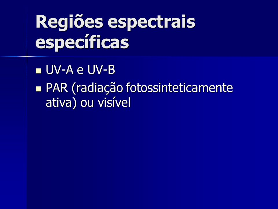 Regiões espectrais específicas