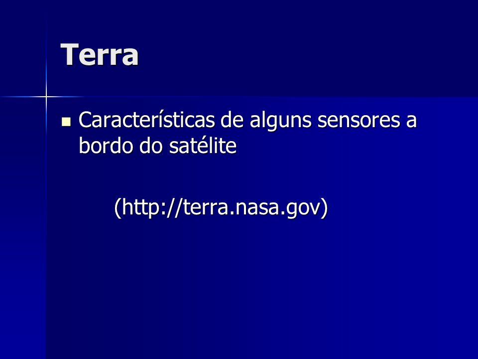 Terra Características de alguns sensores a bordo do satélite