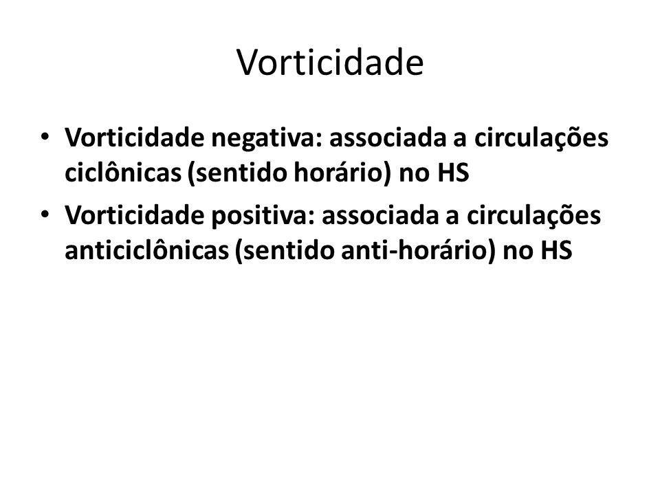 Vorticidade Vorticidade negativa: associada a circulações ciclônicas (sentido horário) no HS.