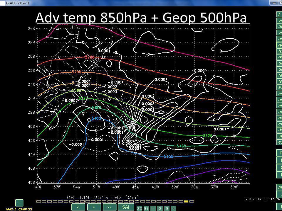 Adv temp 850hPa + Geop 500hPa