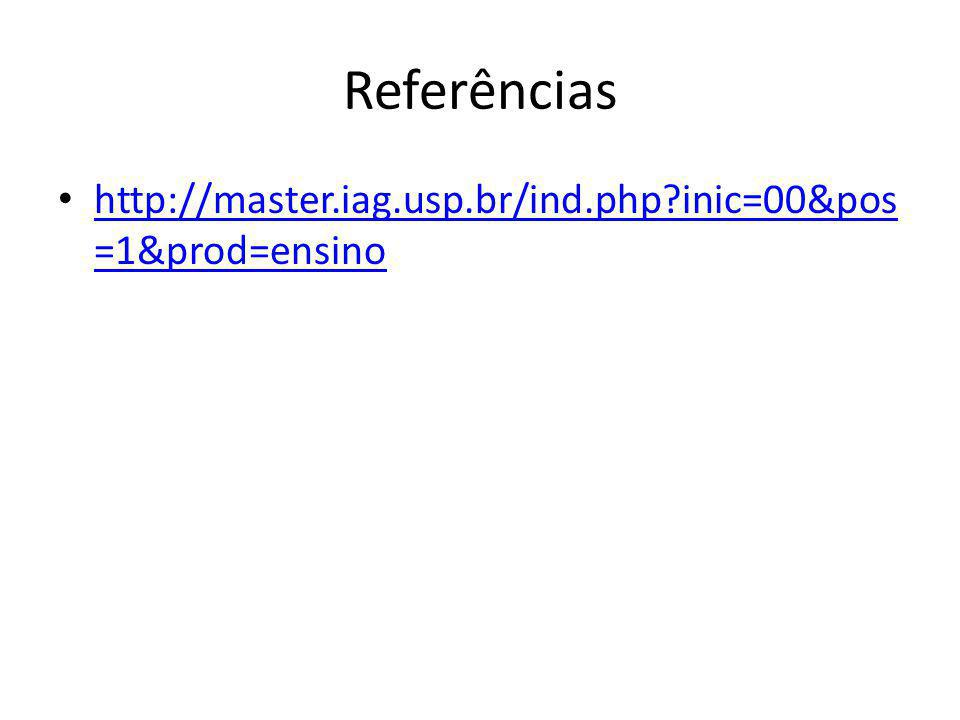 Referências http://master.iag.usp.br/ind.php inic=00&pos=1&prod=ensino