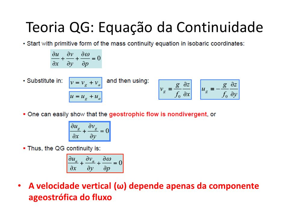 Teoria QG: Equação da Continuidade
