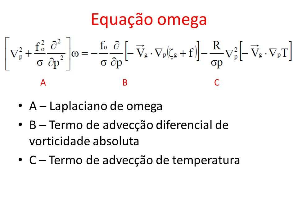 Equação omega A – Laplaciano de omega