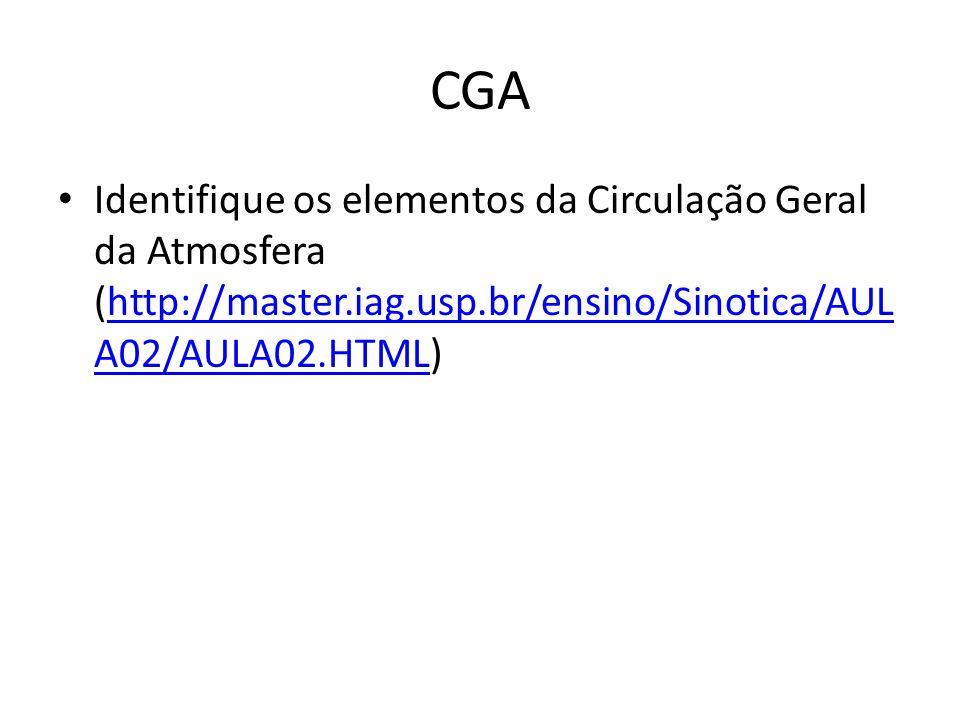 CGA Identifique os elementos da Circulação Geral da Atmosfera (http://master.iag.usp.br/ensino/Sinotica/AULA02/AULA02.HTML)