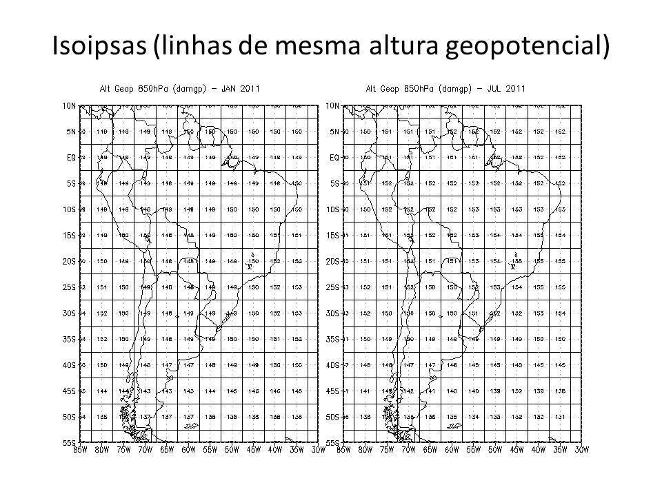 Isoipsas (linhas de mesma altura geopotencial)