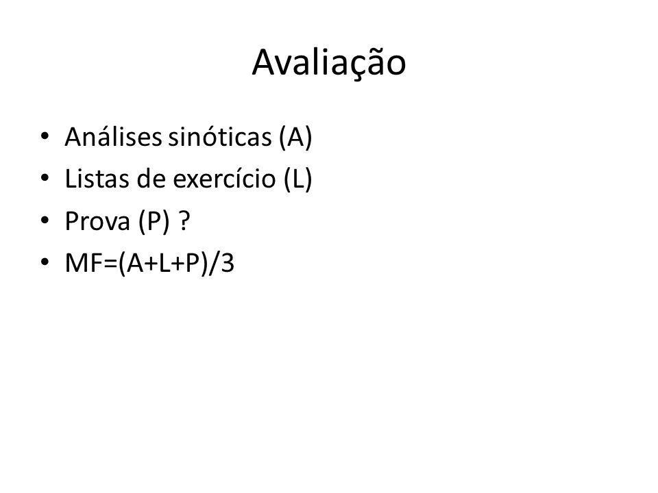Avaliação Análises sinóticas (A) Listas de exercício (L) Prova (P)