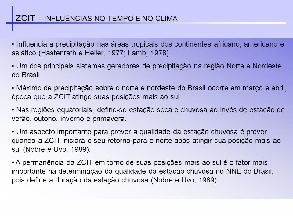 ZCIT – INFLUÊNCIAS NO TEMPO E NO CLIMA