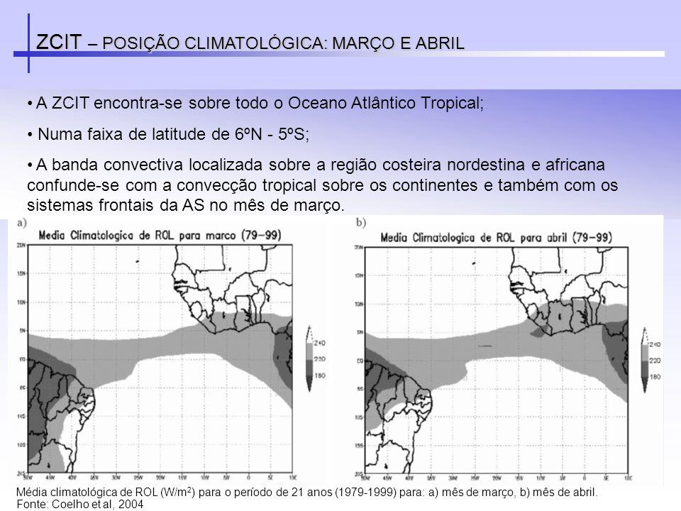 ZCIT – POSIÇÃO CLIMATOLÓGICA: MARÇO E ABRIL