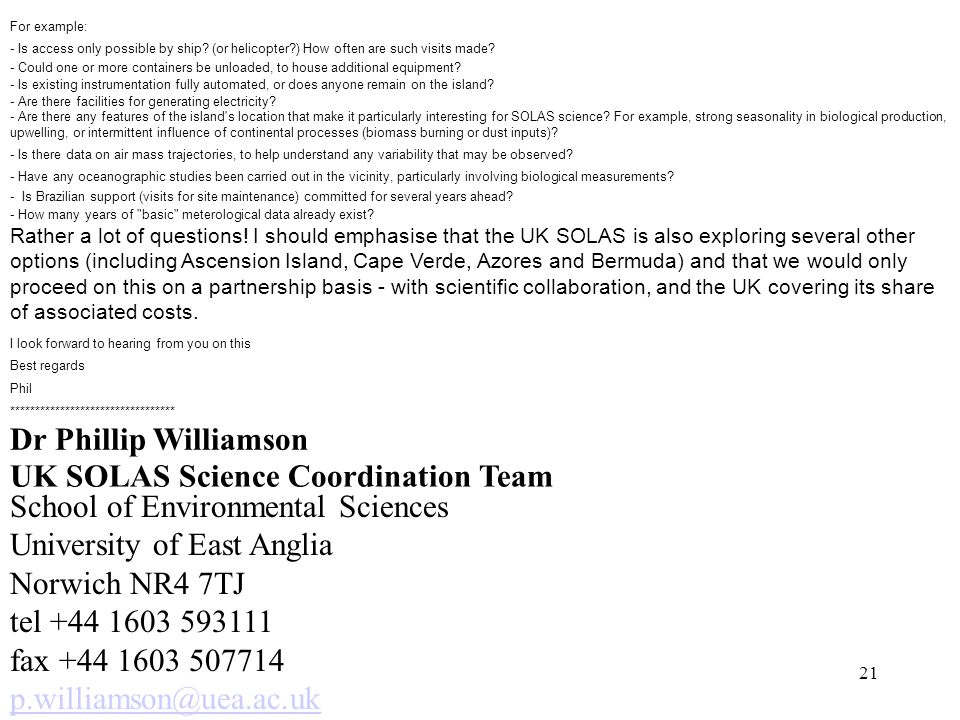 UK SOLAS Science Coordination Team