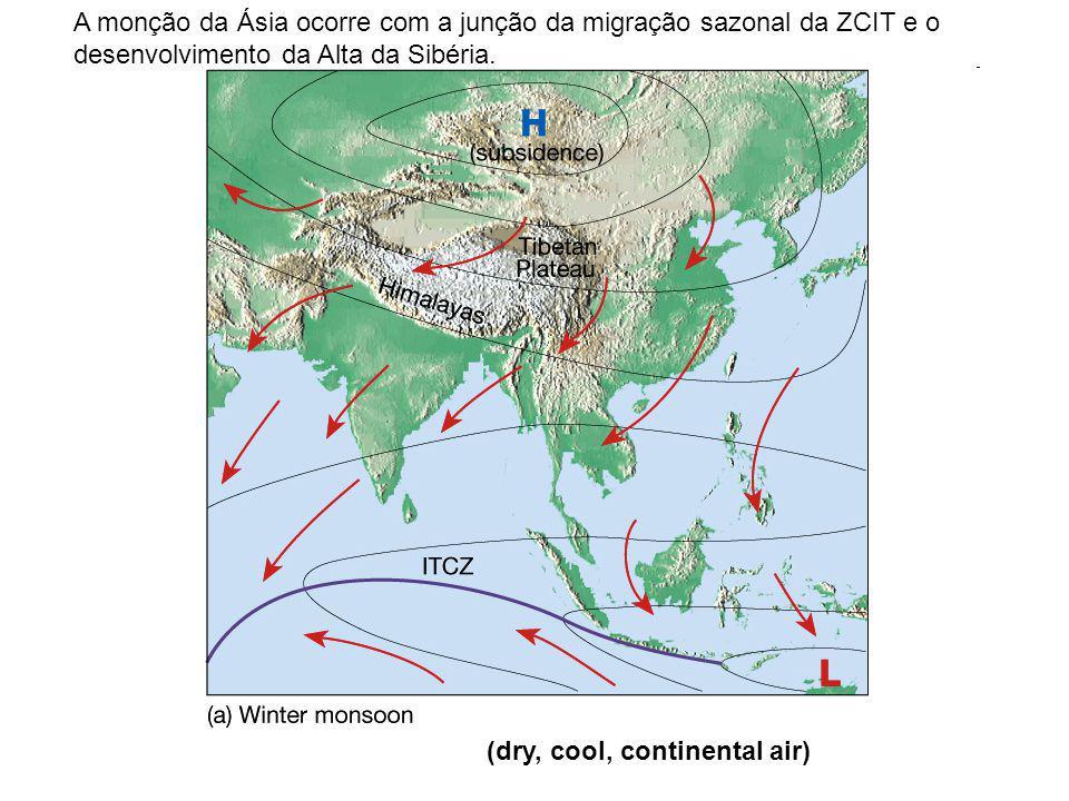 A monção da Ásia ocorre com a junção da migração sazonal da ZCIT e o desenvolvimento da Alta da Sibéria.