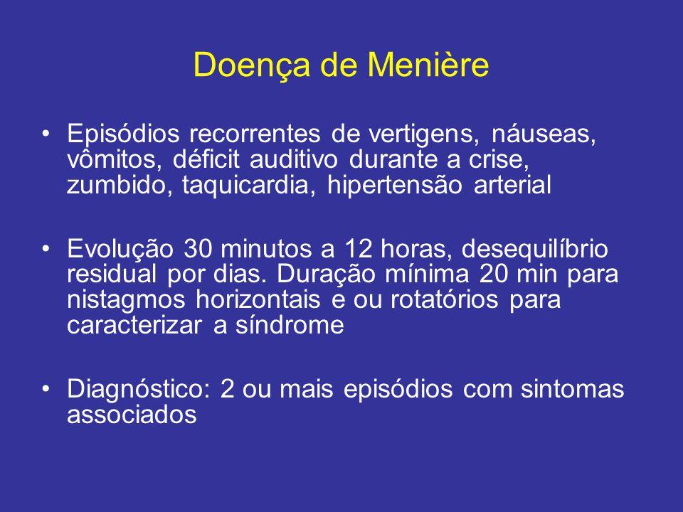 Doença de Menière Episódios recorrentes de vertigens, náuseas, vômitos, déficit auditivo durante a crise, zumbido, taquicardia, hipertensão arterial.