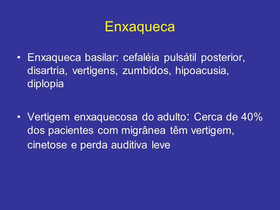 Enxaqueca Enxaqueca basilar: cefaléia pulsátil posterior, disartria, vertigens, zumbidos, hipoacusia, diplopia.
