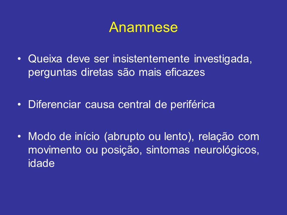 Anamnese Queixa deve ser insistentemente investigada, perguntas diretas são mais eficazes. Diferenciar causa central de periférica.