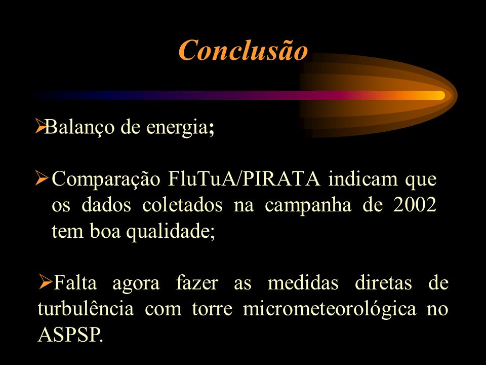 Conclusão Balanço de energia;