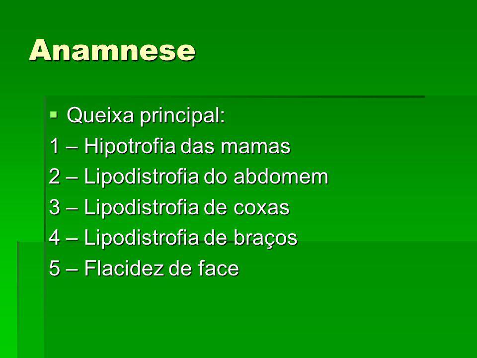 Anamnese Queixa principal: 1 – Hipotrofia das mamas