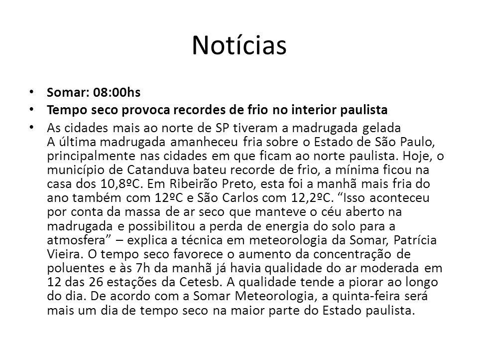 Notícias Somar: 08:00hs. Tempo seco provoca recordes de frio no interior paulista.