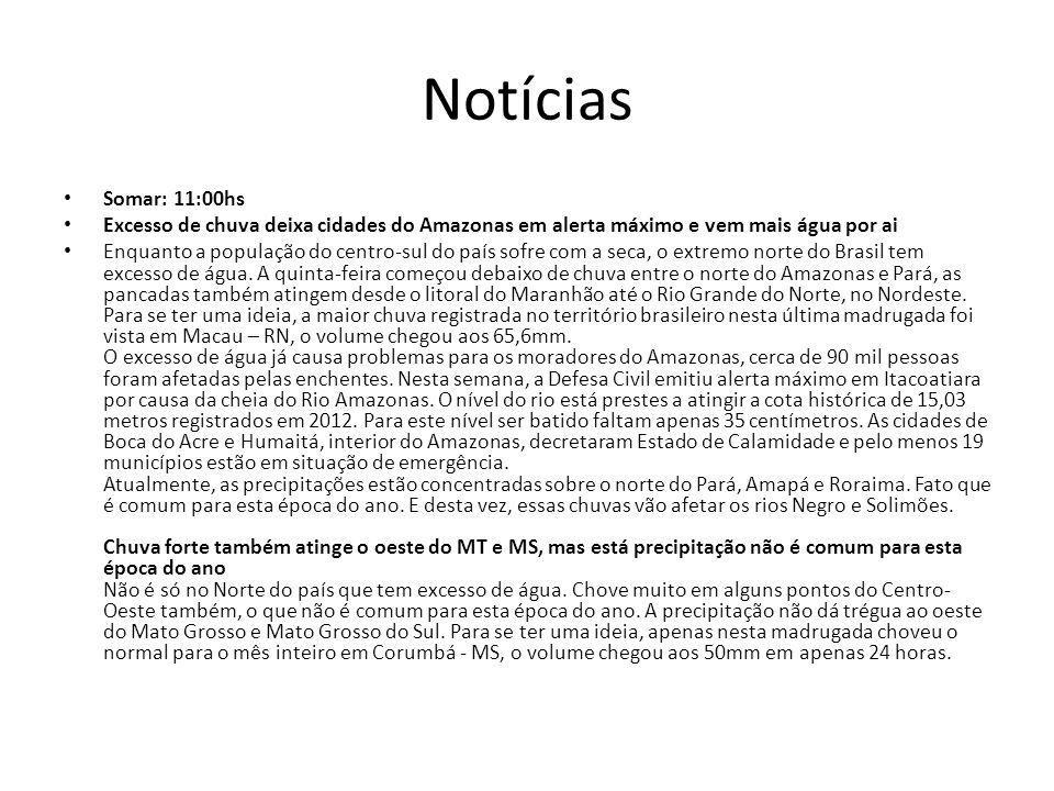 Notícias Somar: 11:00hs. Excesso de chuva deixa cidades do Amazonas em alerta máximo e vem mais água por ai.