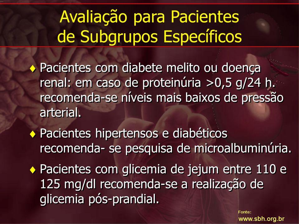 Avaliação para Pacientes de Subgrupos Específicos