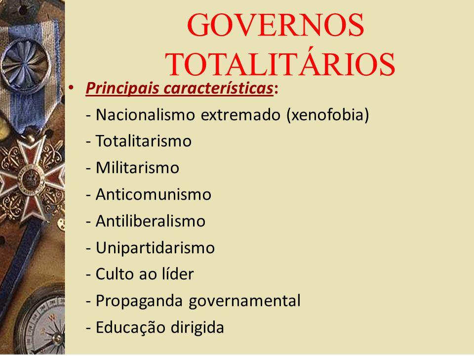 GOVERNOS TOTALITÁRIOS Principais características: