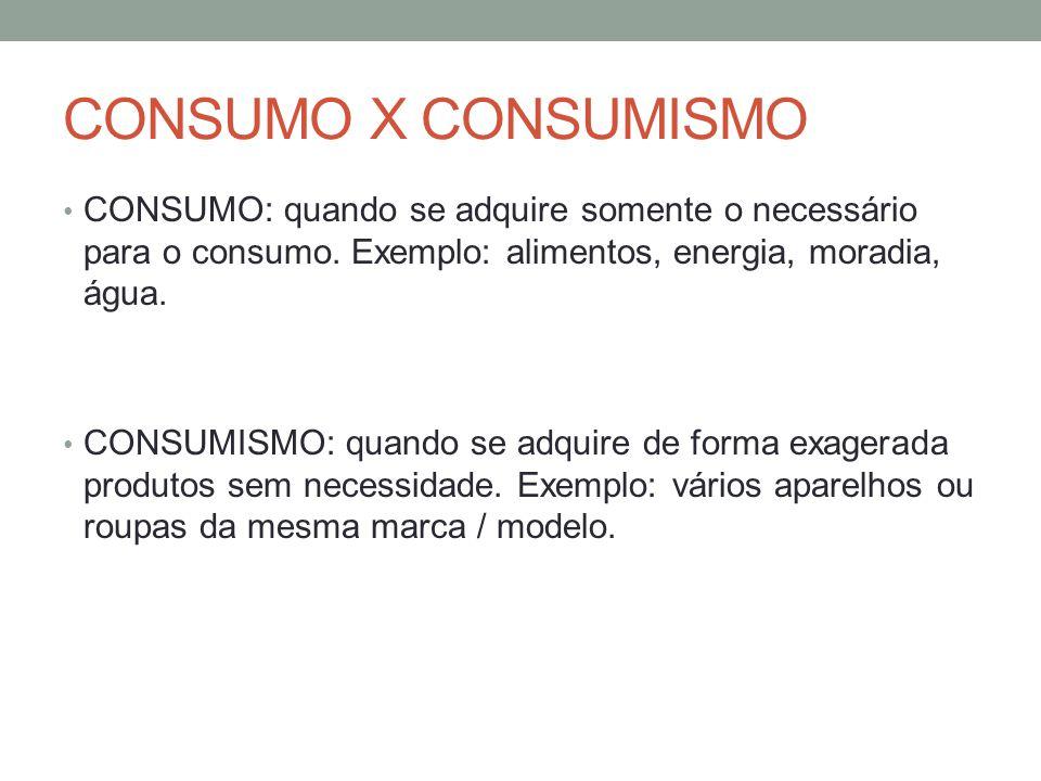 CONSUMO X CONSUMISMO CONSUMO: quando se adquire somente o necessário para o consumo. Exemplo: alimentos, energia, moradia, água.