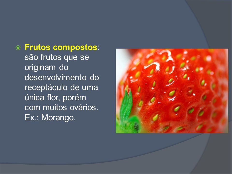 Frutos compostos: são frutos que se originam do desenvolvimento do receptáculo de uma única flor, porém com muitos ovários.