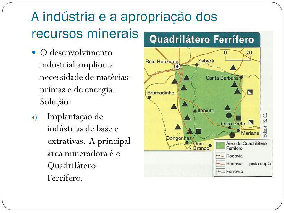A indústria e a apropriação dos recursos minerais