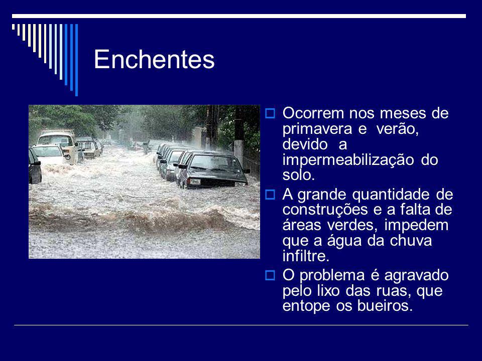 Enchentes Ocorrem nos meses de primavera e verão, devido a impermeabilização do solo.