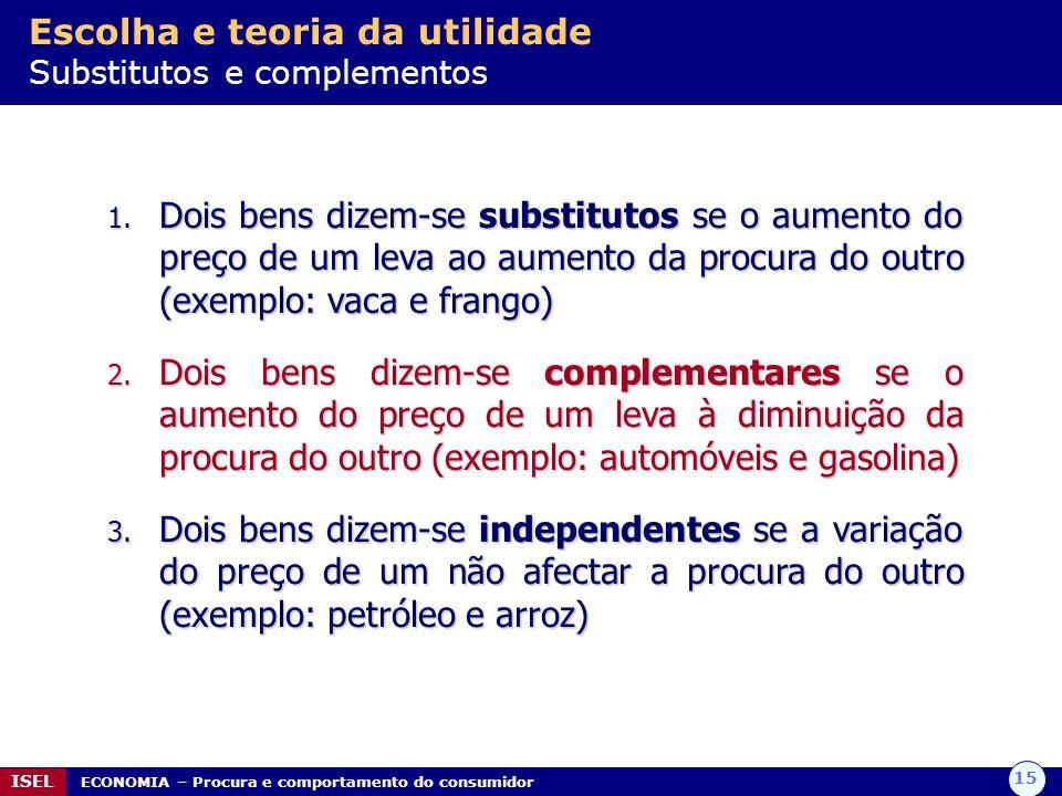 Escolha e teoria da utilidade Substitutos e complementos