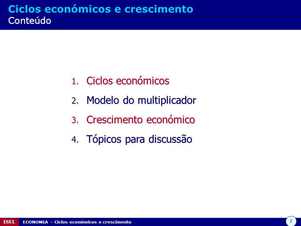 Modelo do multiplicador Crescimento económico Tópicos para discussão