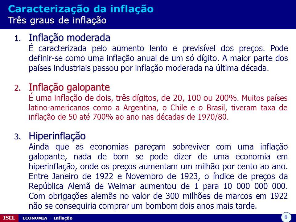 Caracterização da inflação Três graus de inflação