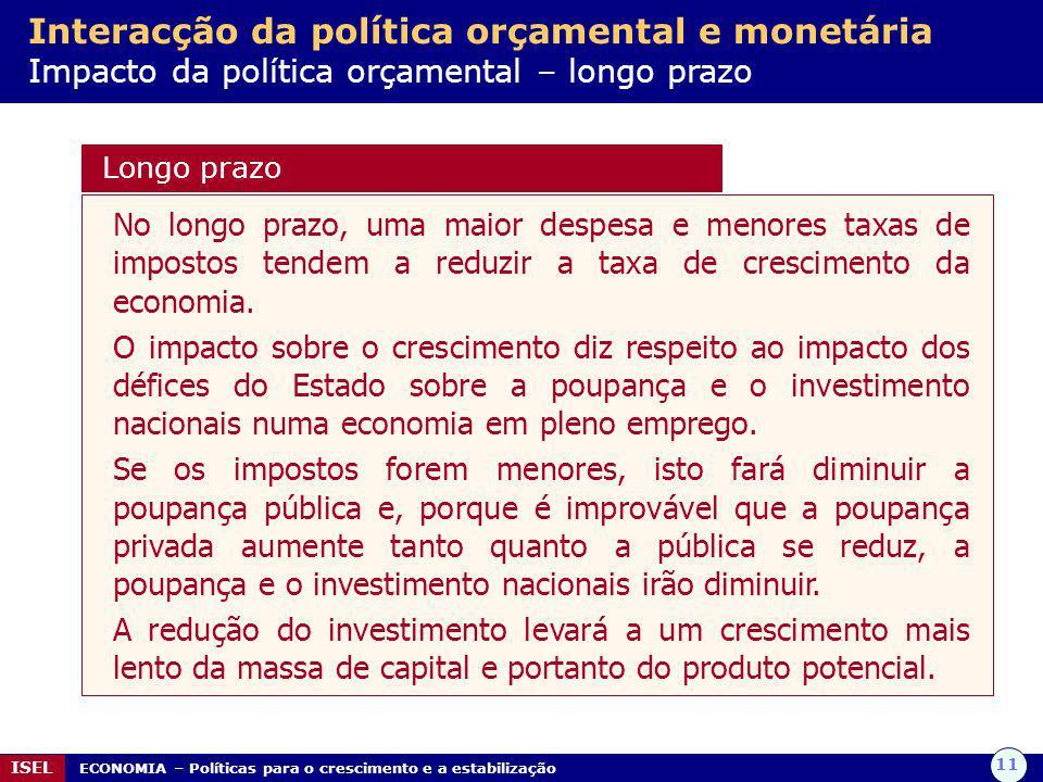 Interacção da política orçamental e monetária Impacto da política orçamental – longo prazo
