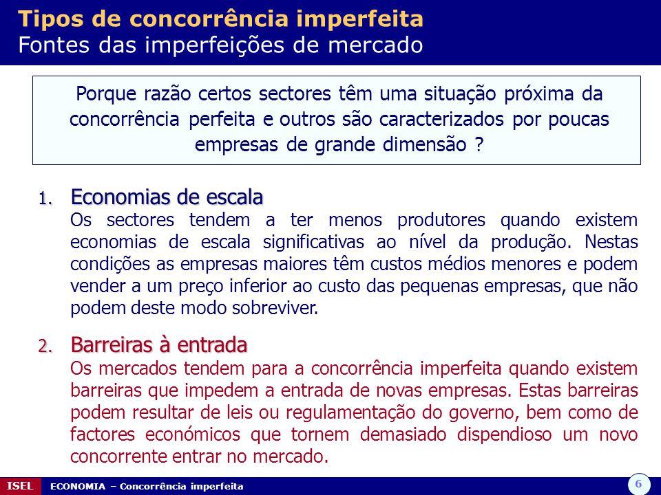 Tipos de concorrência imperfeita Fontes das imperfeições de mercado