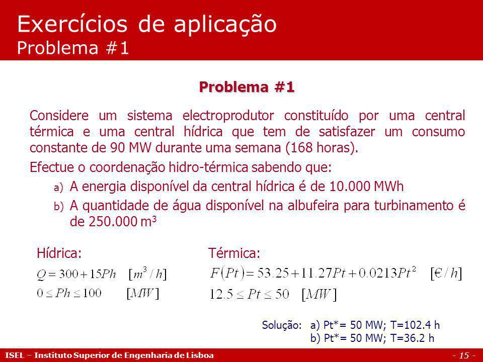 Exercícios de aplicação Problema #1