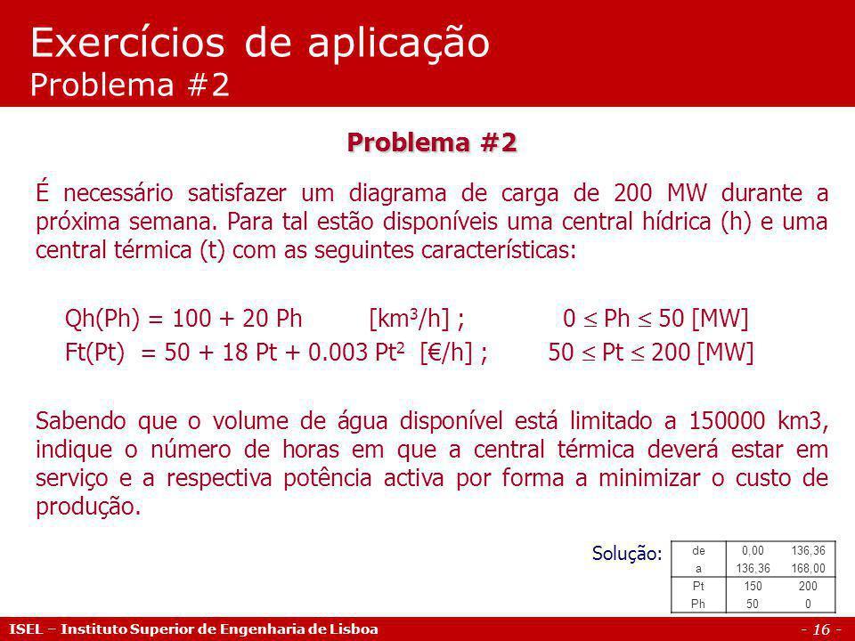 Exercícios de aplicação Problema #2