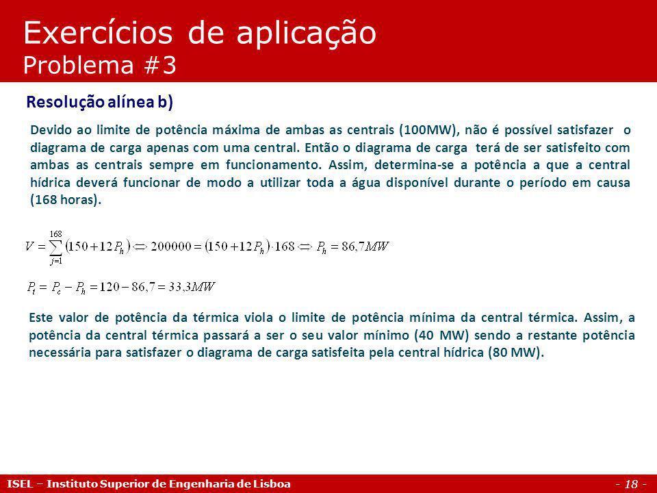 Exercícios de aplicação Problema #3