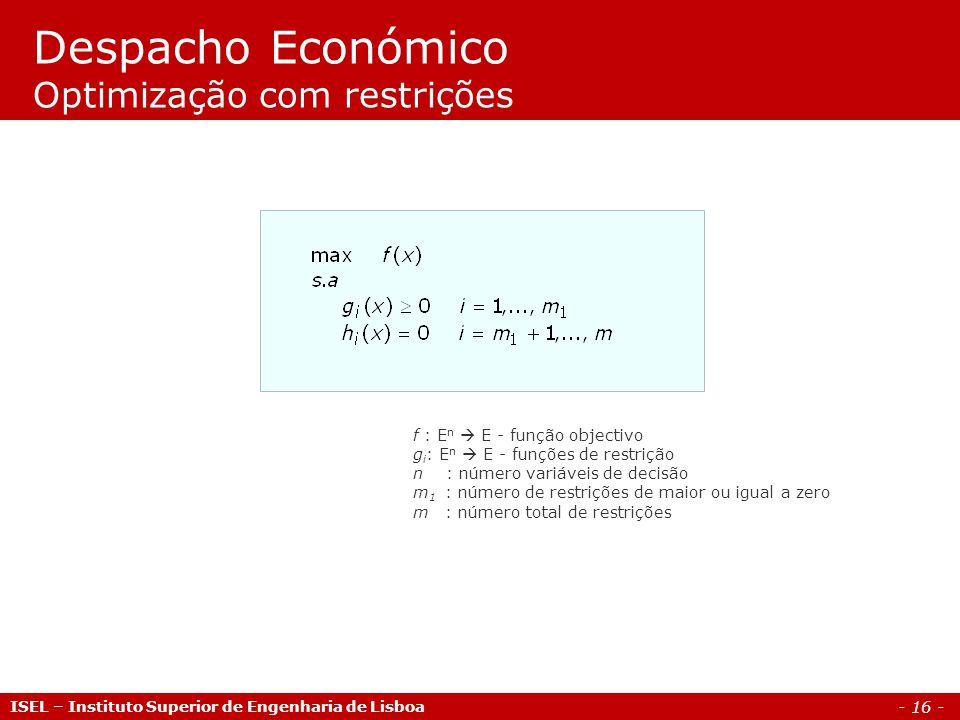 Despacho Económico Optimização com restrições