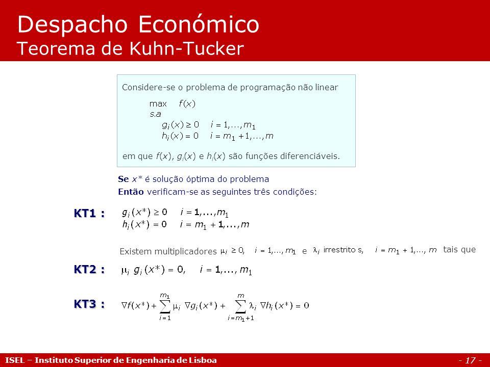 Despacho Económico Teorema de Kuhn-Tucker