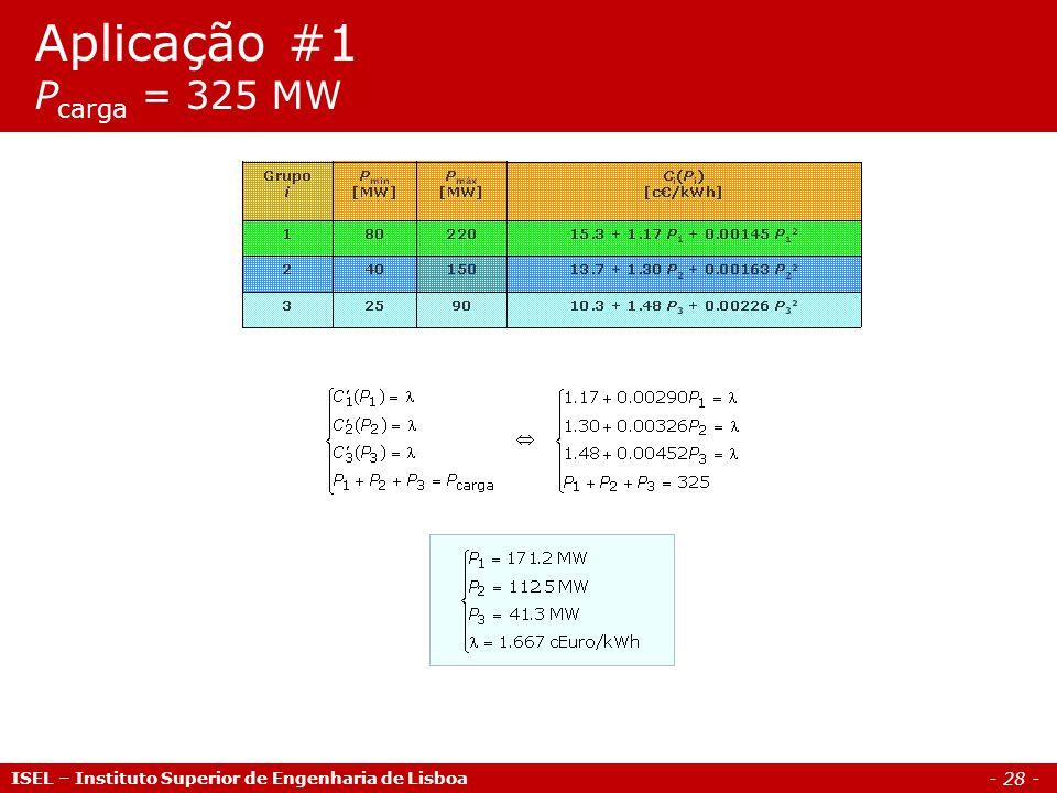 Aplicação #1 Pcarga = 325 MW ISEL – Instituto Superior de Engenharia de Lisboa