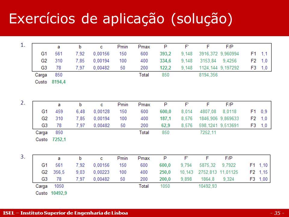 Exercícios de aplicação (solução)