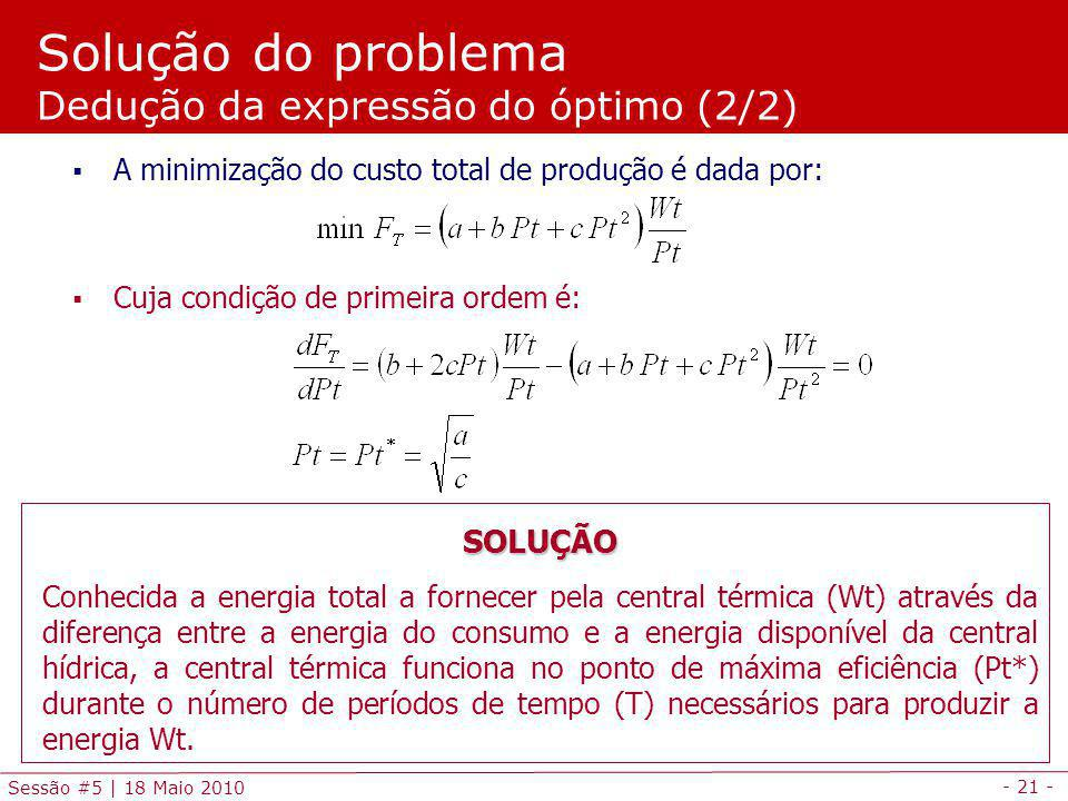 Solução do problema Dedução da expressão do óptimo (2/2)