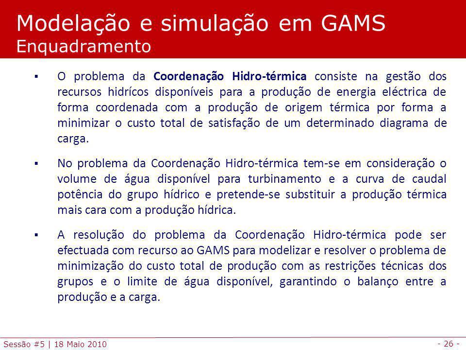 Modelação e simulação em GAMS Enquadramento